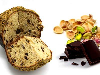 immagine per Panettone con gocce di cioccolato glassa e granella di pistacchio